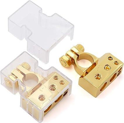 + - Neg 2//4//8//10 Gauge AWG Positive /& Negative Battery Terminal Connectors Clamp Terminals 0//4//8 AWG Pos Pair