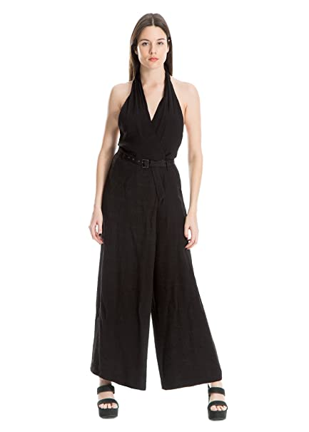 50efecb5146 Amazon.com  Double Weave Rayon Poly Belted Wide-Leg Jumpsuit Classic Womens  Sleeveless  Clothing