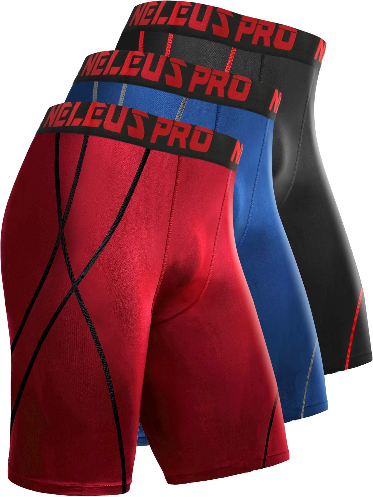 Neleus Men's 8 inch Compression Shorts,6010,3 Pack:Black,Blue,red,L,EU XL by Neleus
