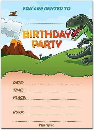 Amazon.com: Dinosaurio invitaciones de cumpleaños con sobres ...
