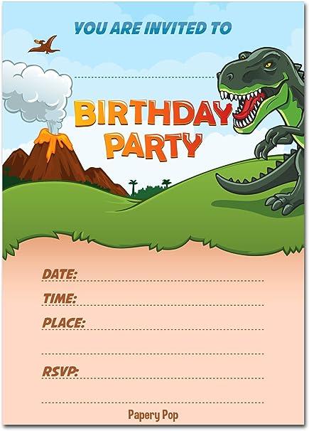30 Invitaciones De Cumpleaños De Dinosaurio Con Sobres 30 Unidades Invitaciones De Cumpleaños Para Niños O Niñas Suministros De Decoración De Fiesta De Dinosaurio Toys Games