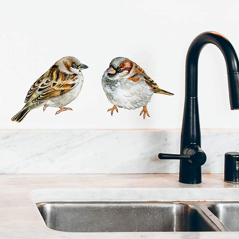 ROFARSO Lifelike Lovely Cute Birds Animal 3D Vinyl Wall Stickers Removable Wall Decals Art Decorations Decor for Nursery Baby Bedroom Playroom Living Room Murals