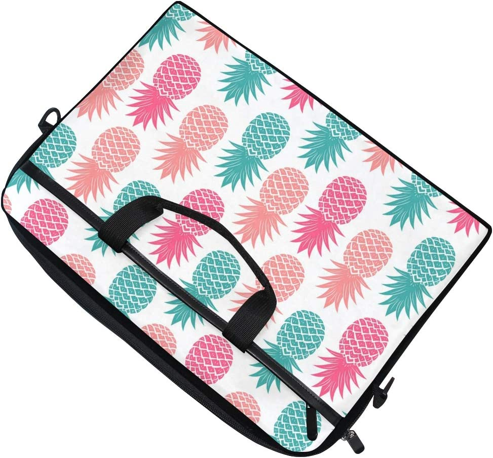 Linomo Computer Bag Summer Pineapple Pattern Laptop Sleeve Case Briefcase Messenger Sleeve Laptop Shoulder Bag fits 13 Inch 14 Inch 14.5 Inch Laptop for Women Men Office Kids School