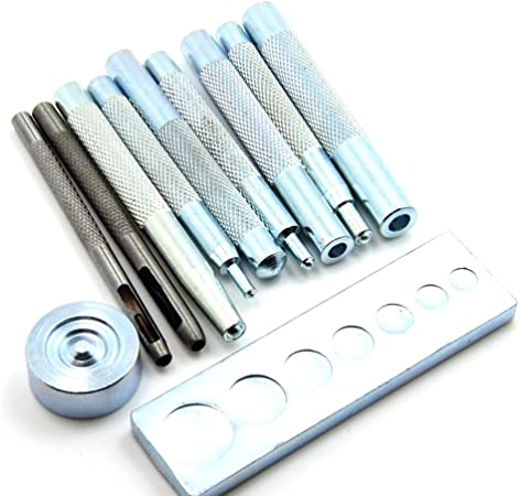 11pcs Craft Leather Craft Leather Rivet Setter Tool Die Punch Snap Kit with Base for Punch Hole and Install Button DIY Leather Rivet Setter