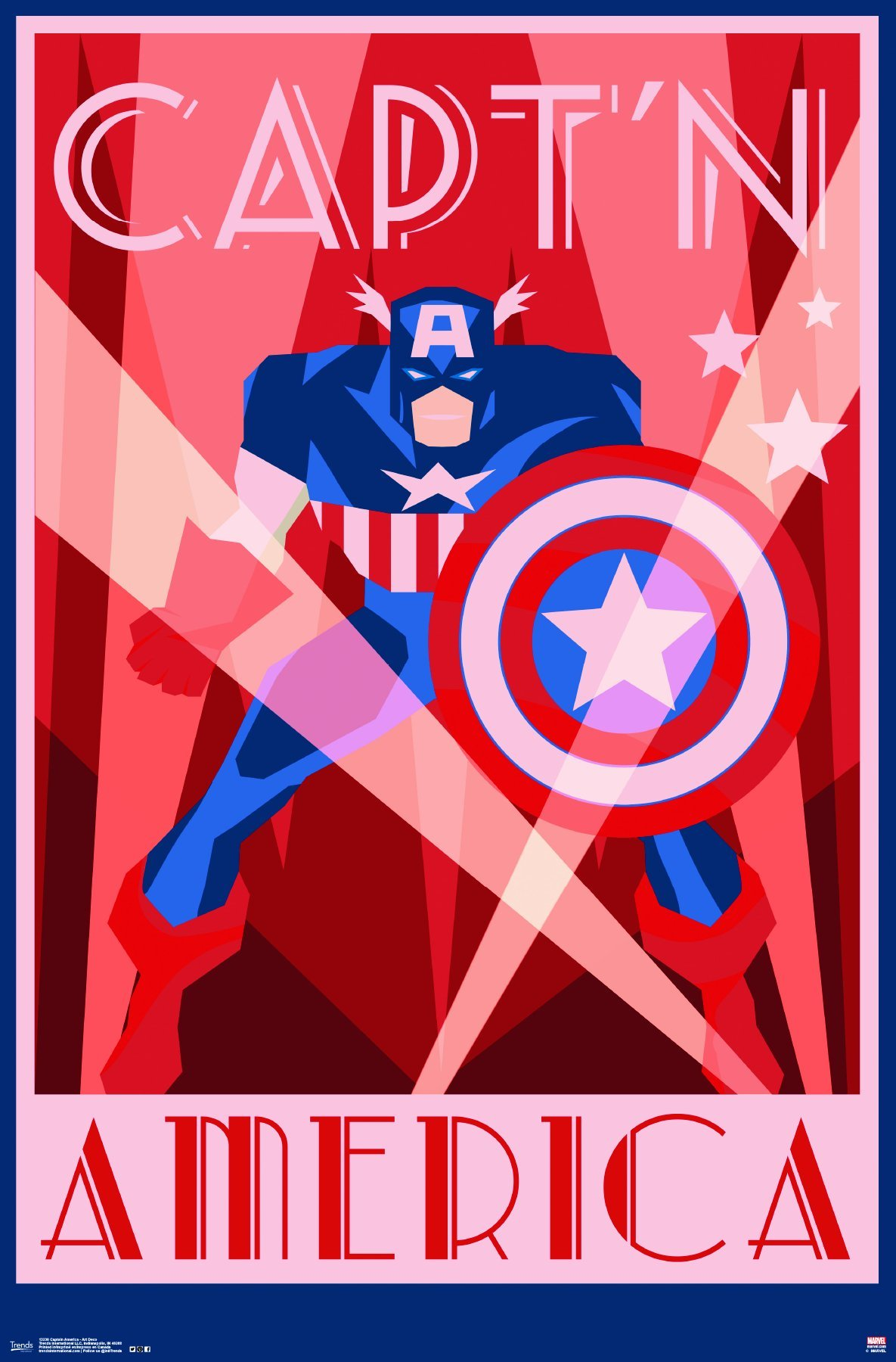 Trends International Captain America Art Deco Wall Poster 22.375'' x 34''