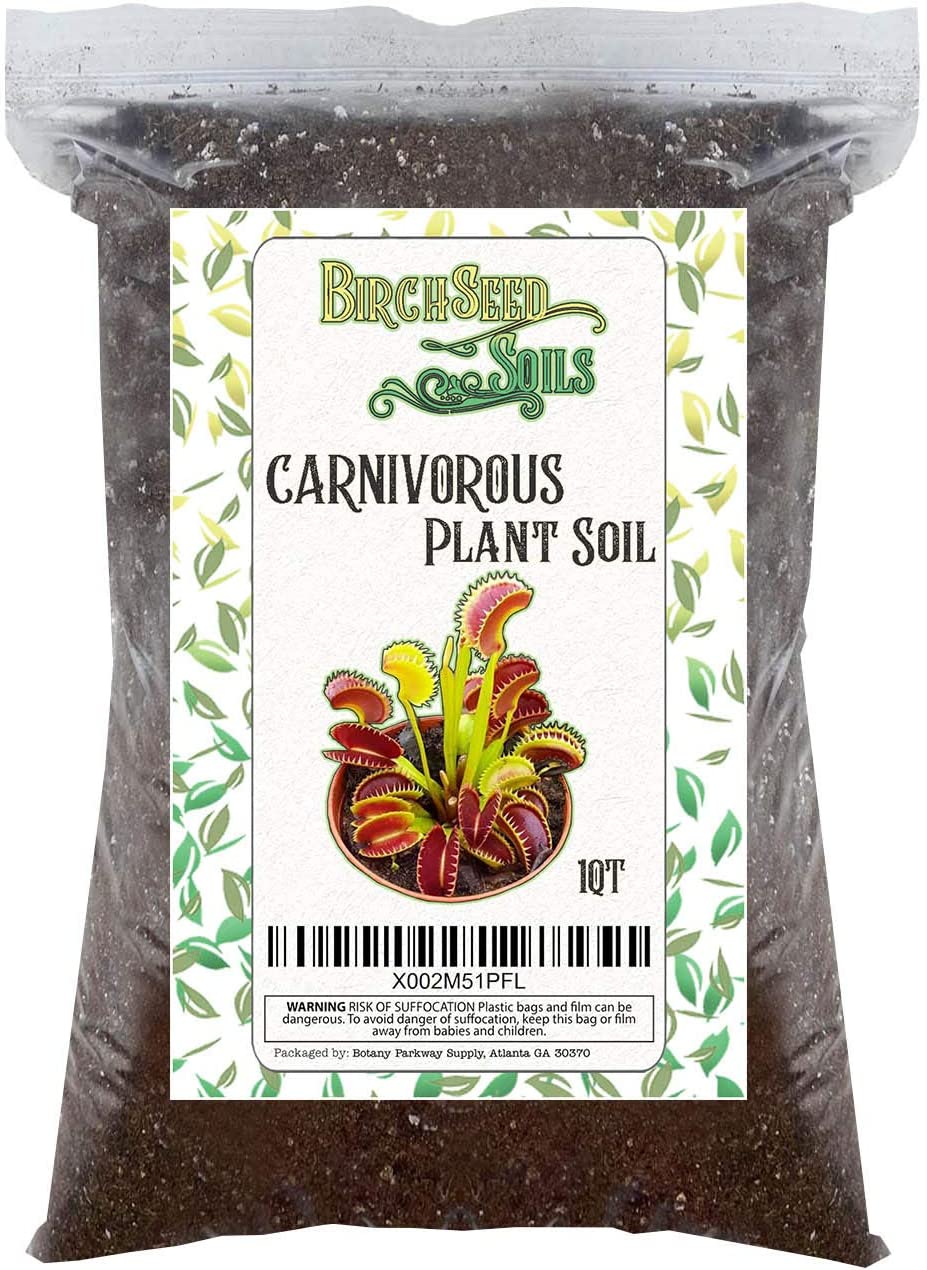 Carnivorous Plant Soil Mix All Natural Plant Soil Sphagnum Peat Moss and Perlite - Perfect for Venus Fly Traps, Pitcher Plants, and Sundews 1 Quart 1-2 Small Plant Size Bag