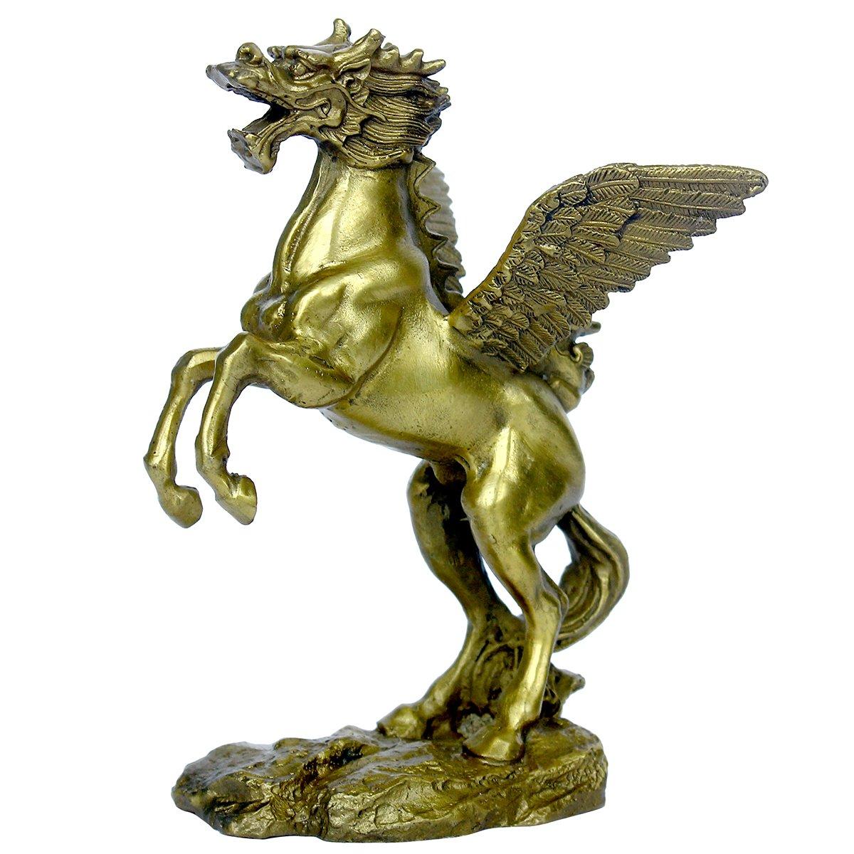 Handmade Brass Pegasus Horse with Dragon Head Statue Home Decor Gift