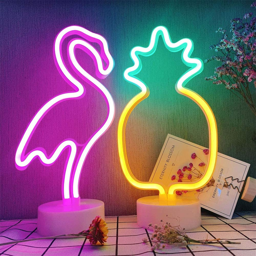 ENUOLI 1Set Flamingo & Pineapple Neon Sign Light LED Flamingo Pineapple Set Neon Signs LED Nightlight Fashion Home Accessories Neon Sign Decor bar Living Room Wedding Party Decorations