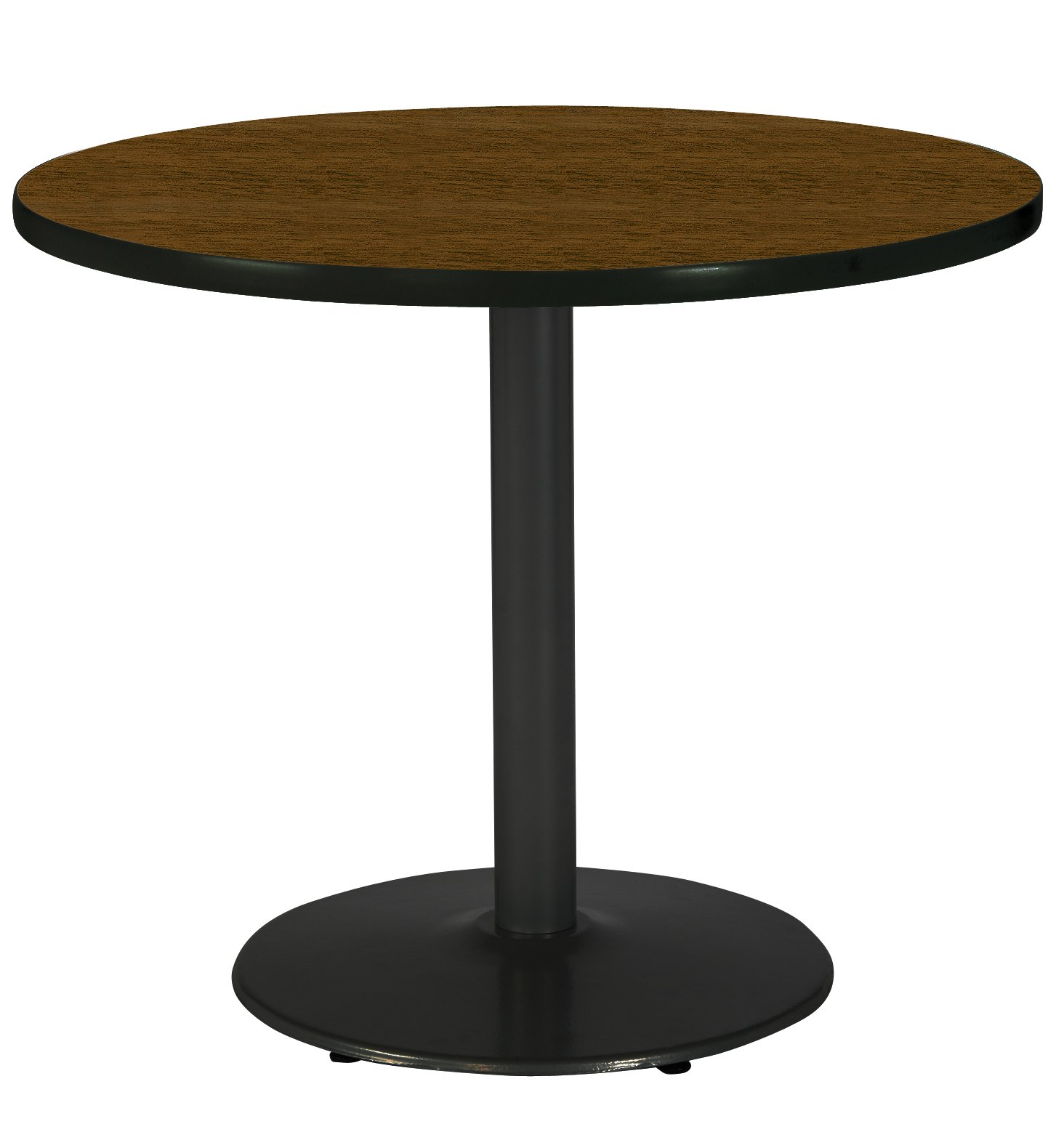 KFI Seating Round Black Base Pedestal Table with Top, Walnut, 42''
