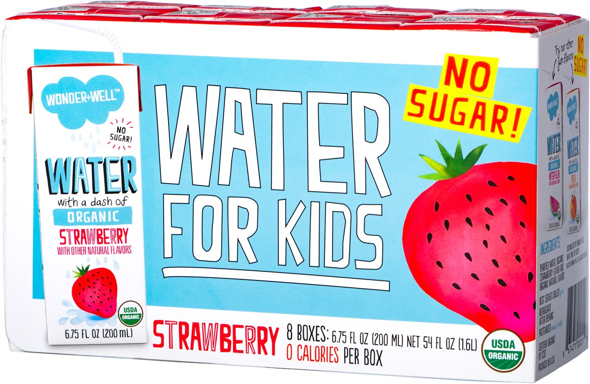 WONDER+WELL Organic Strawberry Water Drink Boxes, No Sugar, 6.75oz ...