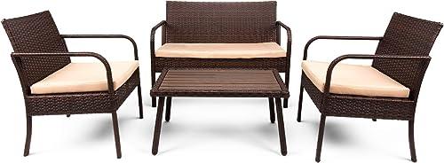 Best Choice Products 4-Piece Wicker Patio Conversation Set w/ 3 Chair