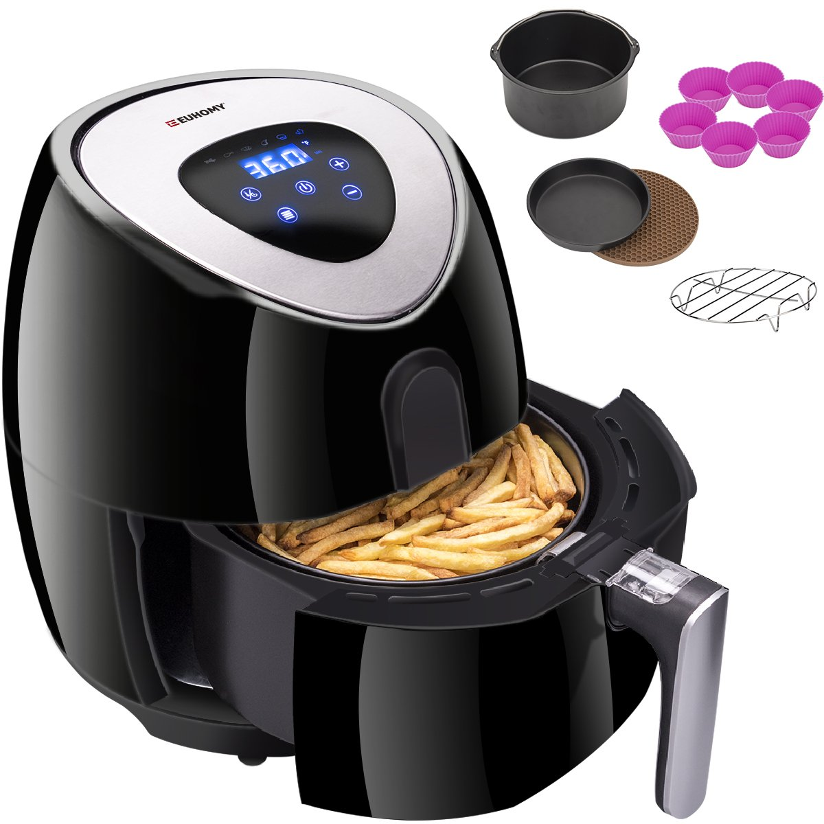 Euhomy 4.2Qt, 1500W-Comes with Recipes & Cookbook & 6Pcs Air Fryer Accessories- Touch Screen Control - Easy to Clean, 14.6 x 12.8 x 12.8 inches, Black by Euhomy