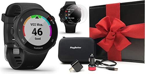 Garmin Forerunner 45S Black, Small Gift Box Bundle PlayBetter HD Screen Protectors x4 , USB Adapters Hard Case Accurate, Simple GPS Running Watch, Garmin Coach