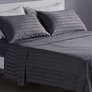SLEEP ZONE Striped Bed Sheet Sets 120gsm Luxury Microfiber Temperature Regulation Sheets Soft Wrinkle Free Fade Resistant Easy Care (Gray, King)
