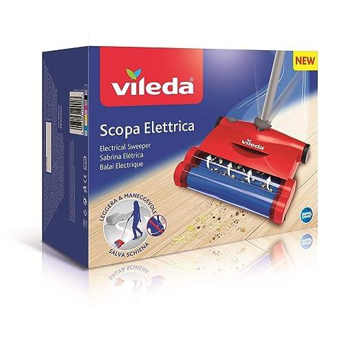 Vileda Quick Clean Escoba eléctrica inalámbrica y cepillo eléctrico con articulación flexible y 2 cepillos giratorios patentados color rojo