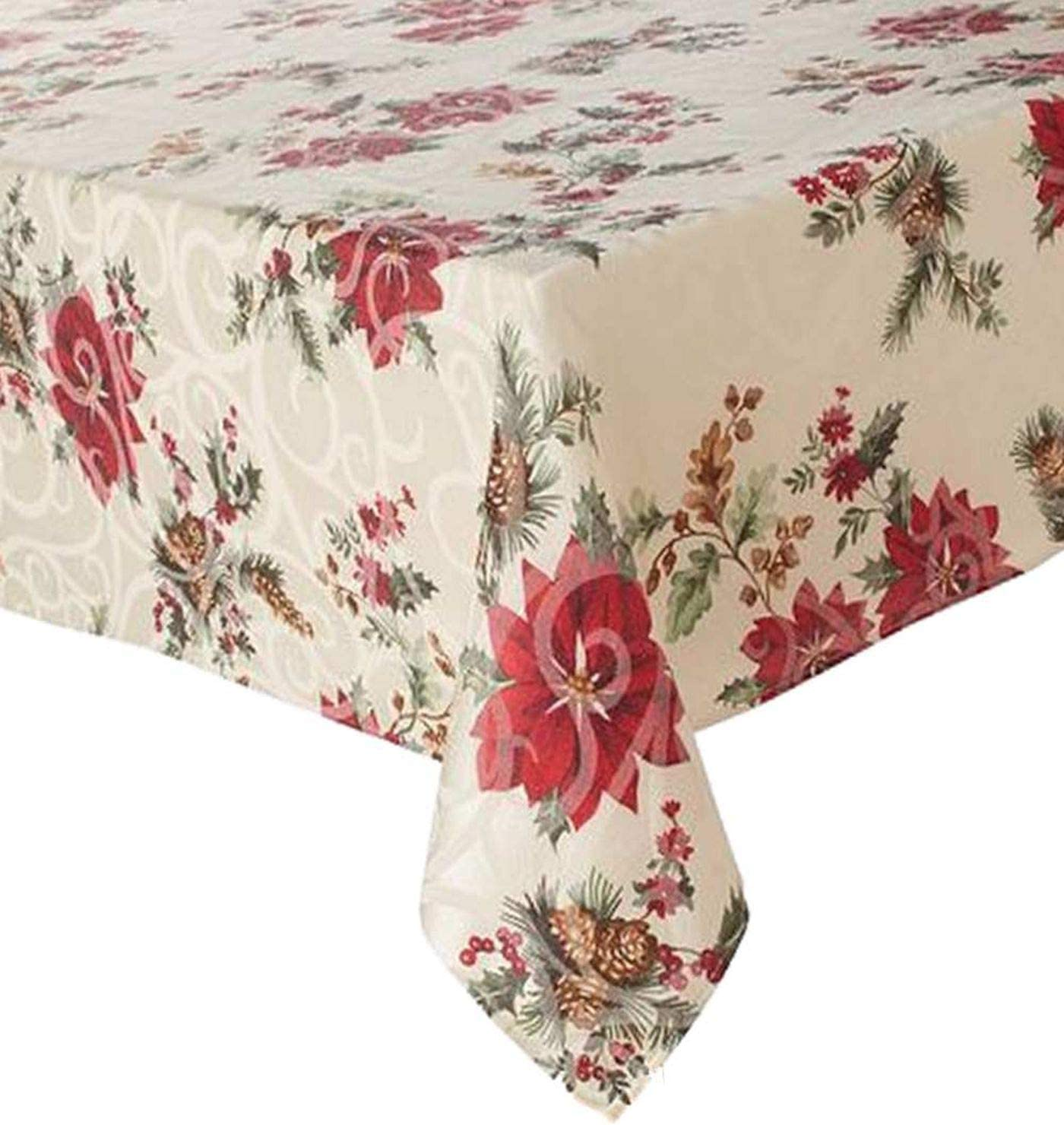 Food Network Juniper Berry Christmas Tablecloth Fabric Table Cloth 70 Round