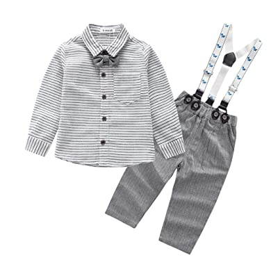 2Pcs Set Toddler Baby Striped Long Sleeve Blouse+Bandage Belt Pants Suit Clothes