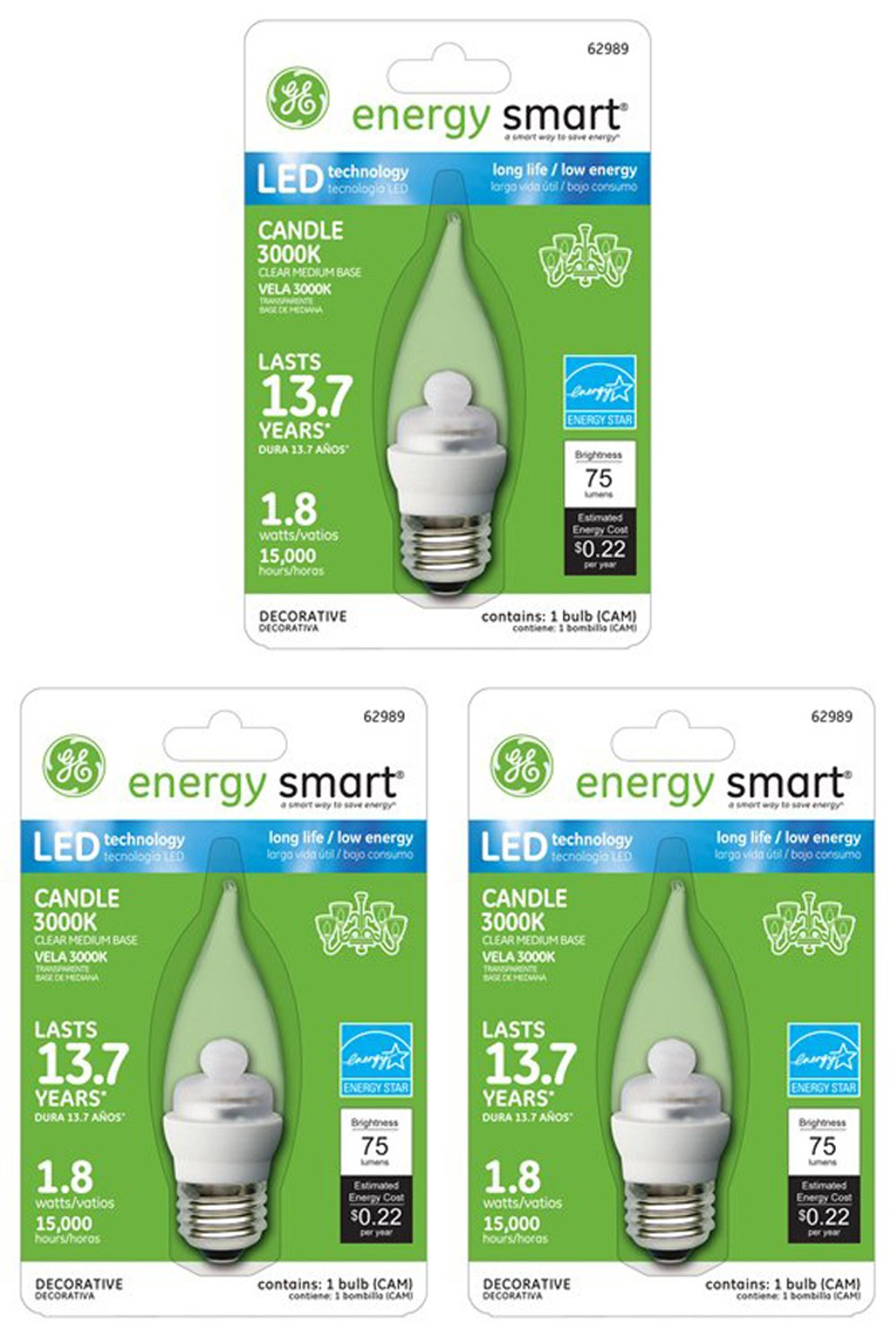 GE Lighting 62989 1.8-Watt Clear LED Candle-Shape Light Bulb, Medium Base (3 Pack) - - Amazon.com
