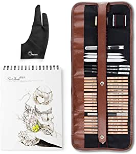29 Pieces Professional Sketch & Drawing Art Tool Kit with Graphite Pencils, Charcoal Pencils, Paper Erasable Pen, Craft Knife-Lightwish (with Sketchbook, Canvas Rolling Pouch)