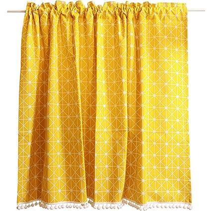 Amazoncom Abreeze Bright Yellow Short Curtains Rod Pocket Cafe - Yellow bathroom window curtains