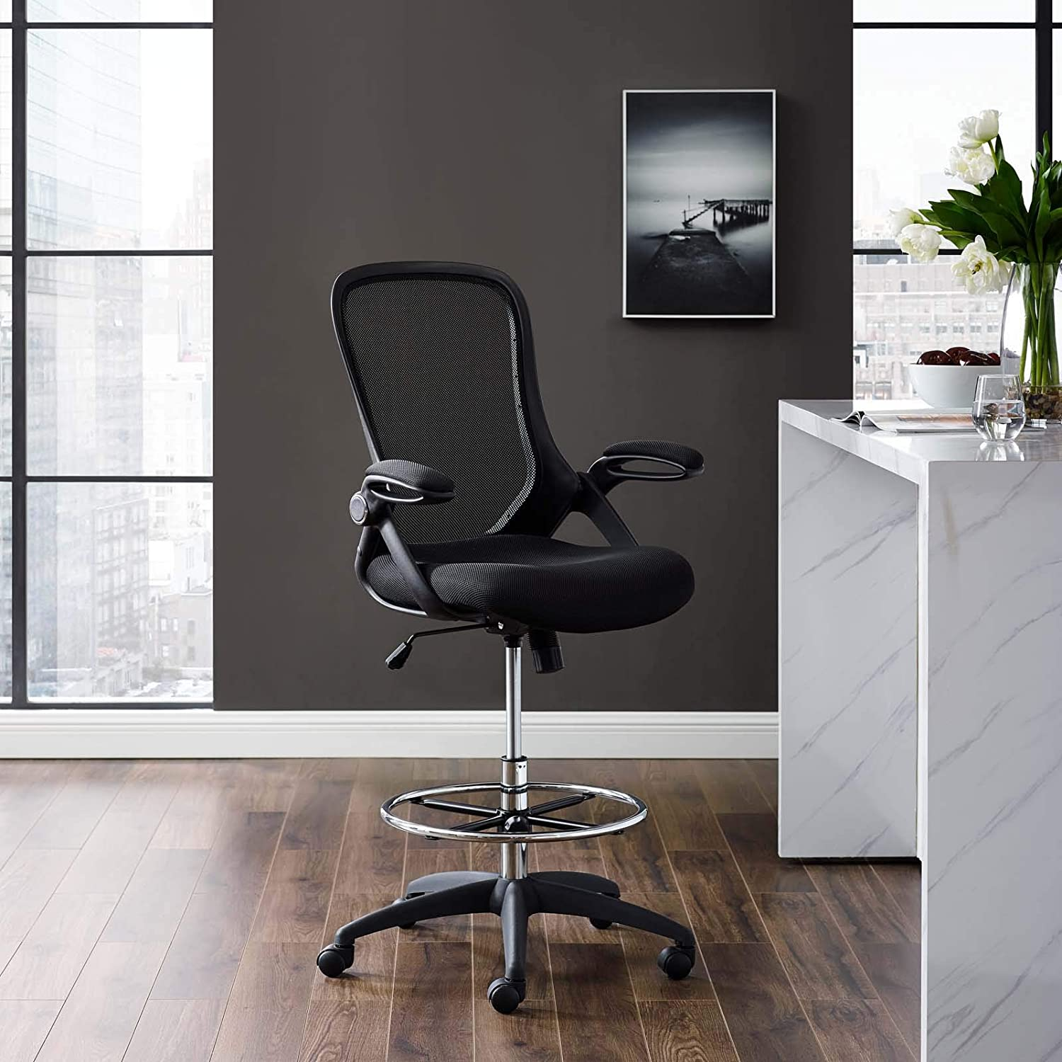 Modway Assert Drafting Chair In Black - Tall Office Chair For Adjustable  Standing Desks - Drafting Stool With Flip-Up Arms