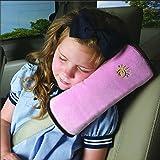 CYBERNOVA arresto per cintura auto, ideale come cuscino supporto per la testa,sicurezza in auto per bambini cuscino spalla cuscino cintura(rosa)