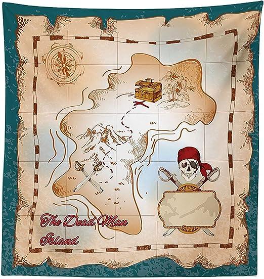 vipsung Isla Mapa Decor Mantel Cartoon Mapa del Tesoro Pirata con Calavera y Calavera Hombre Muerto Isla Kids – Funda para Mesa Rectangular para Comedor kitchenes Azul Crema: Amazon.es: Hogar