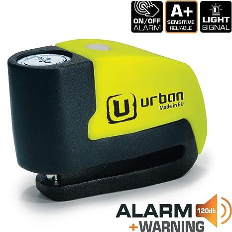Urban Security UR6 Candado Antirrobo Disco con Alarma+Warning 120dB, 6, Made in EU