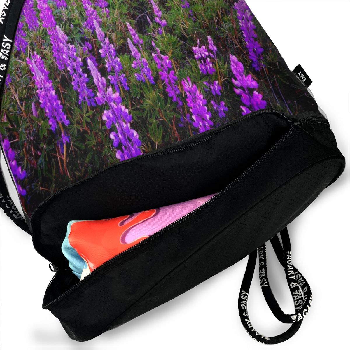 Unisex Bundle Backpack Purple Lavender Travel Durable Large Space Special Waterproof Drawstring Bag