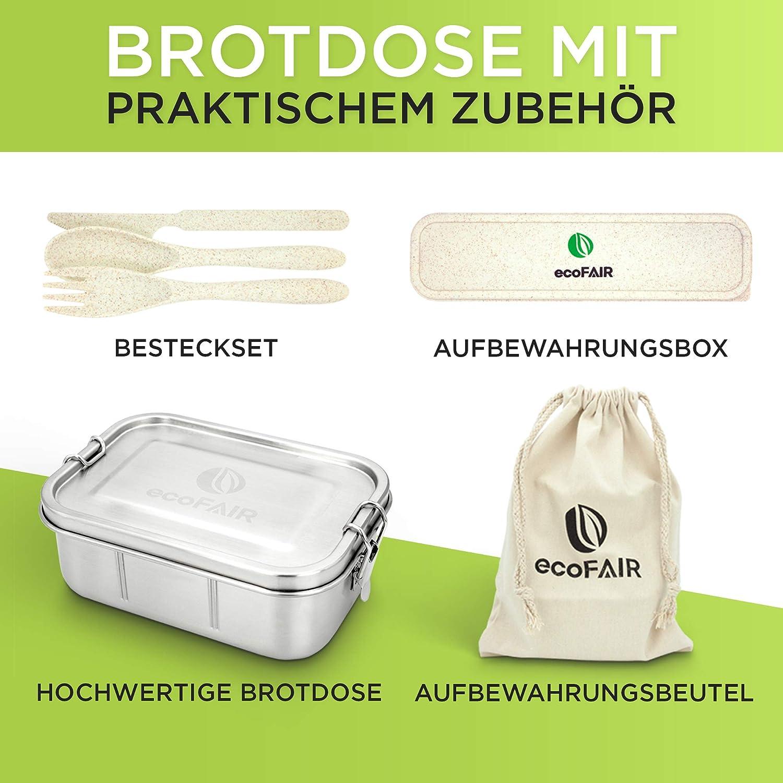 inklusive praktischem Aufbewahrungsbeutel aus 100/% Baumwolle PLASTIKFREI ecoFAIR Edelstahl Brotdose 800ml Lunchbox mit Besteck Set aus Weizenmaterial E-Book mit Rezepten geschenkt