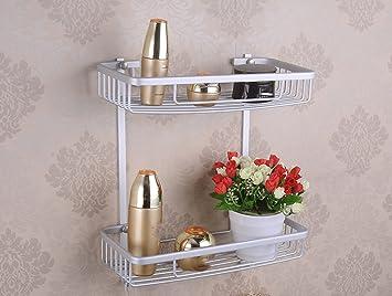 Aluminio Rectangular Cesta Bastidores De Toallas Accesorios De Baño Aseo Cocina Bastidores De Almacenamiento: Amazon.es: Hogar