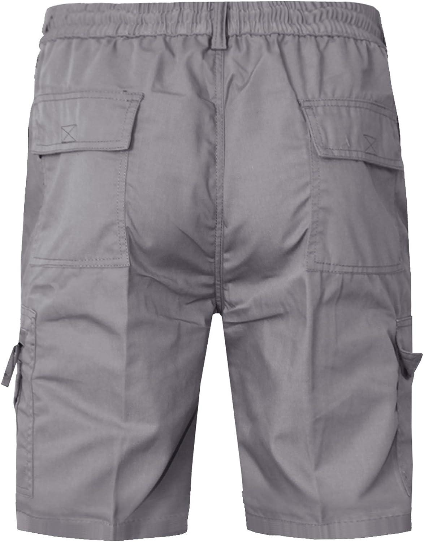 New Mens Cargo Combat Casual Summer Plain Elasticated Waist Short Cotton Pants M-3XL