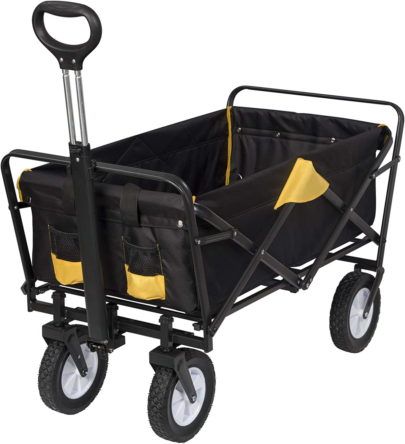 EUGAD Foldable Garden Trolley Cart with 4 Wheels Collapsible Wagon Hand Truck for Camping Shopping Gardening Festival Anthracite//Yellow