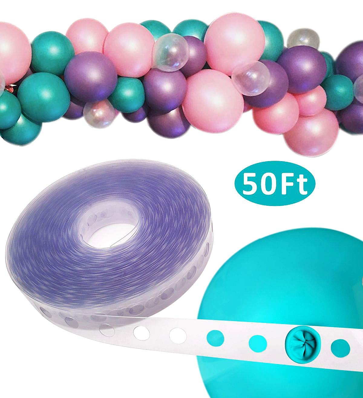 Balloon Decorating Strip Tape 50ft Long To Make Arch Garland Steamer For Birthday Wedding Baby Shower Party Decorations