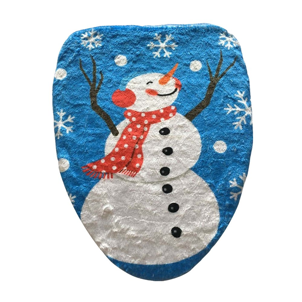 Eizur Santa Claus Printed Toilet Seat Lid Cover Mat Christmas Decoration Bathroom Decor Xmas Gift Size 43*48cm--A