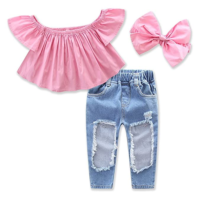 3dc0d842e64097 1-7Yrs Kid Baby Girls Ruffle Tops + Big Hole Jeans Cool Girl Clothes 2pcs