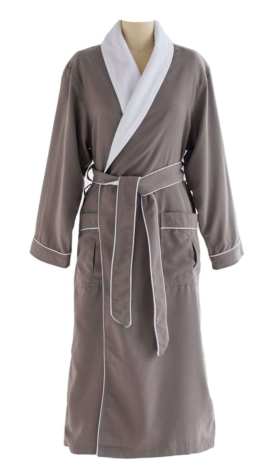 Ultimate Doeskin Microfiber Bathrobe Lined In Terry - Luxury Spa Bathrobe for Women and Men - Smoke/White - X-Small