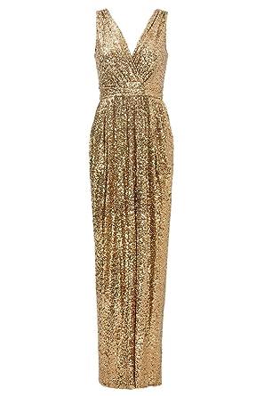 8cc4b3ec6e6 Cdress Sparkly Sequins V-Neck Evening Dresses Formal Wedding Party Gowns  Gold US 2