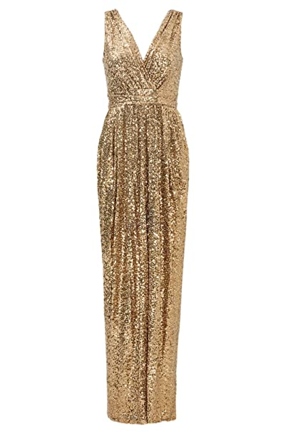 Sequins Bridesmaid Dresses Long Evening Gowns Plus Size Prom Dress for  Wedding Party V-Neck Sleeveless