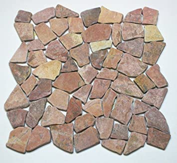 M² Bruch Mosaik Netz Naturstein Stein Marmor Fliese Boden Wand Rot - Fliesen restposten essen