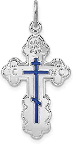 Solid .925 Sterling Silver Polished Budded Cross Pendant 31 mm