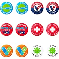 Vaccinated Button Pins - Pack of 12 Pcs Vaccinated Pins, I've Been Vaccinated Pin, 2.25 Inch Vaccine Recipient…