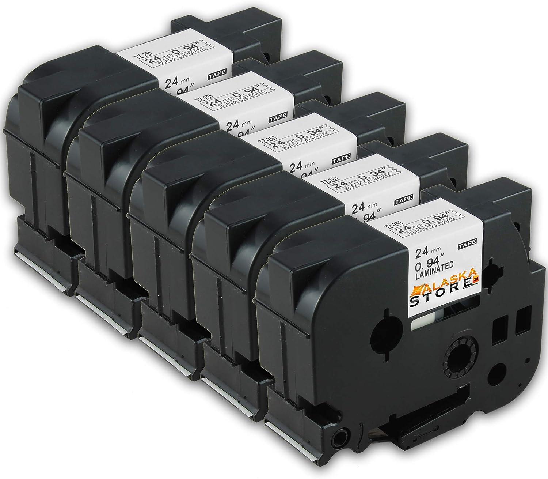 5X Tape Cassette Brother P-Touch TZe-251 TZ-251 Negro Sobre Blanco ...