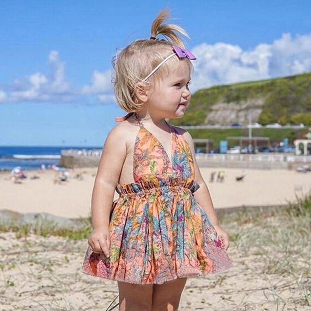 edb05f9be2 Amazon.com: Kehen Infant Baby Toddler Girl Summer Dress Hawaii Beach  Dresses Tropical Pattern Strap Backeless Swing Sundress: Clothing
