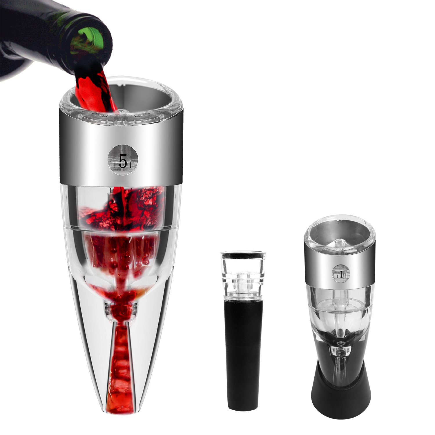 Wine Aerator Decanter - Empino Premium Instant Aerating Pourer - Wine Filters for Sulfites - Multi-Stage Design Wine Saver Diffuser with Vacuum Wine Stopper and Carry Pouch Included