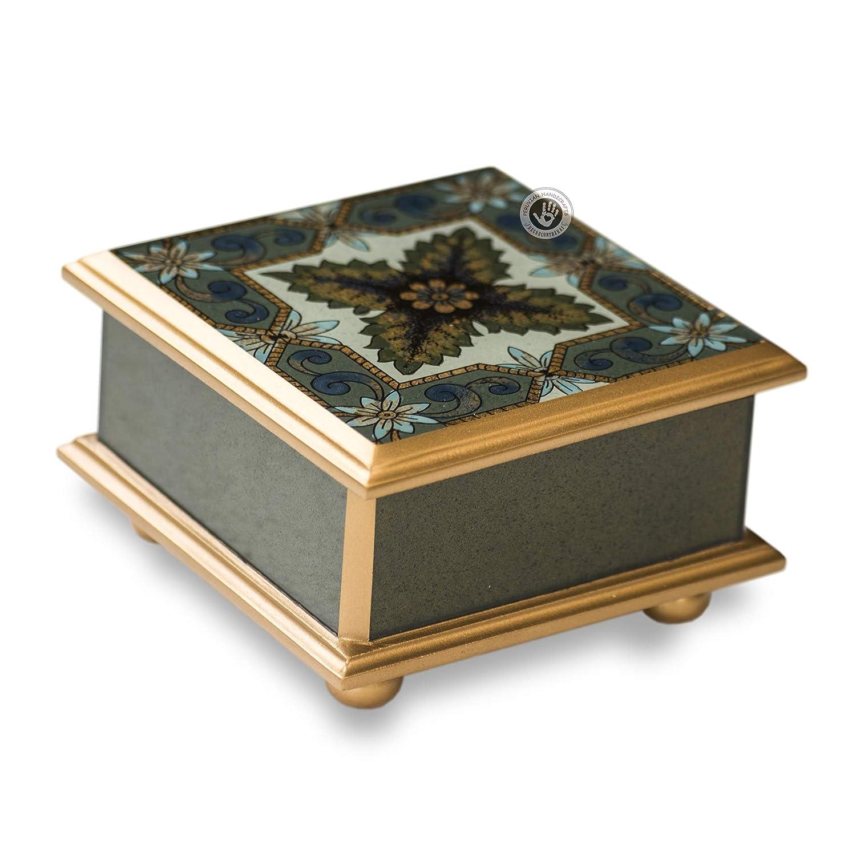 Peruvian Painted Glass 3.9'x3.9' Box With Hinged Lid, Handmade Jewelry boxes from Peru, glass jewelry box for women, Decorative wood jewellery box'Natural' Decorative wood jewellery boxNatural