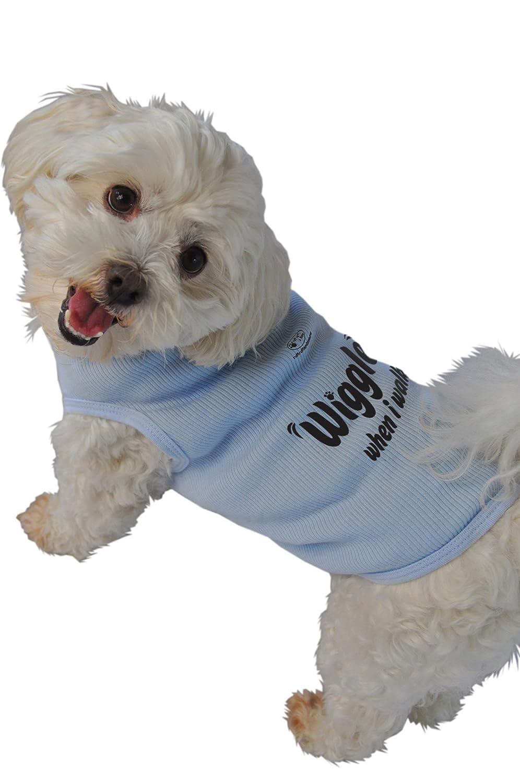 Ruff Ruff and Meow Medium Dog Tank Top, Wiggle When I Walk, bluee