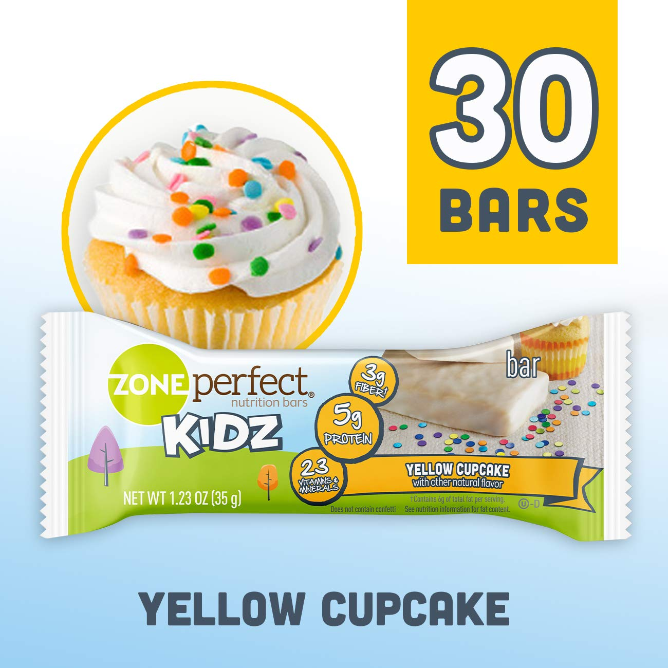 ZonePerfect Kidz Nutrition Bars, No Artificial Flavors or Colors, Yellow Cupcake, 1.23 oz, 30 Count by ZonePerfect Kidz