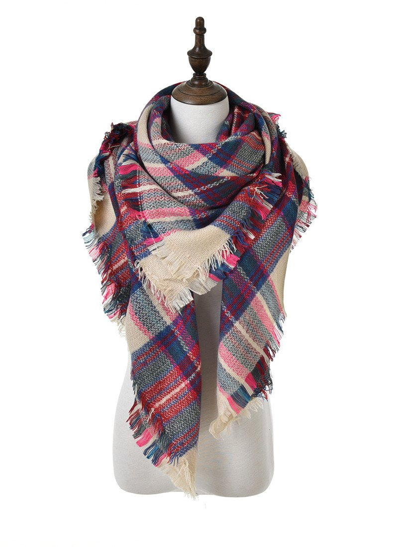 POSESHE Stylish Warm Blanket Scarf Gorgeous Wrap Shawl A Brown Red-2 One Size P888-A Brown Red-2
