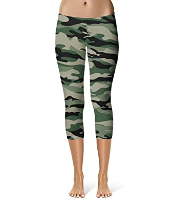 d190844aed409 Queen of Cases Military Camouflage Sport Leggings - Capri Length, Mid/High  Waist